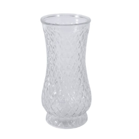 Clear Textured Vase. (21cm)