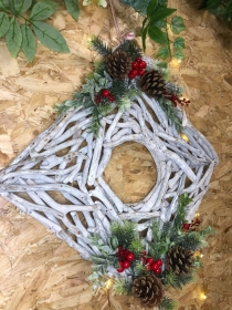 Wooden Square Traditional Wreath